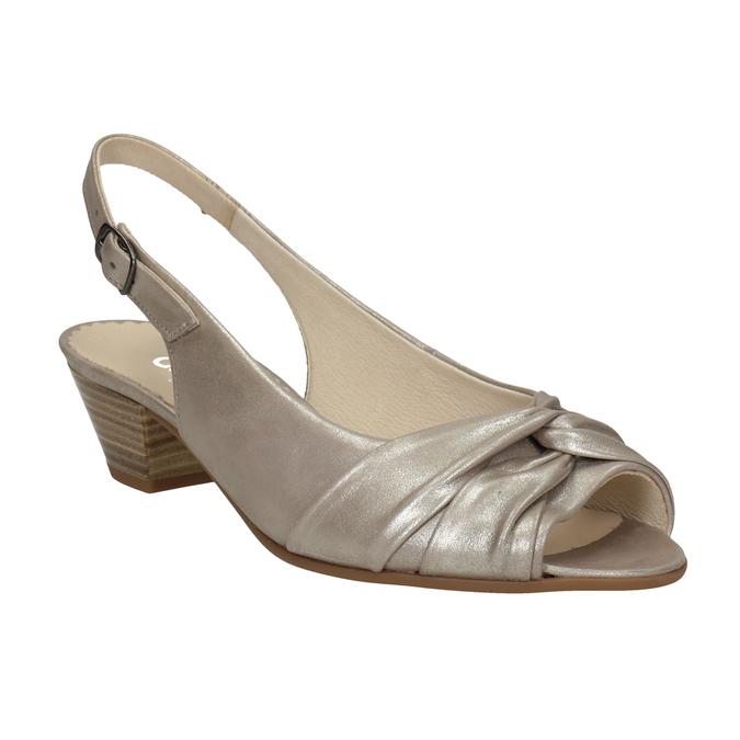 Kožené sandály na stabilním podpatku šíře H gabor, zlatá, 666-8020 - 13