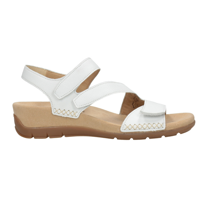Kožené bílé sandály na suchý zip gabor, bílá, 666-1018 - 26