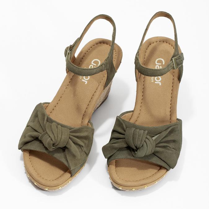 Khaki kožené sandály na klínku šíře G gabor, khaki, 763-7004 - 16
