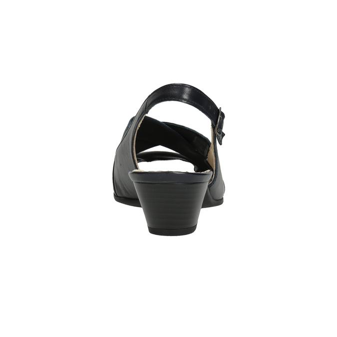 Kožené černé sandály šíře H gabor, černá, 666-6351 - 16