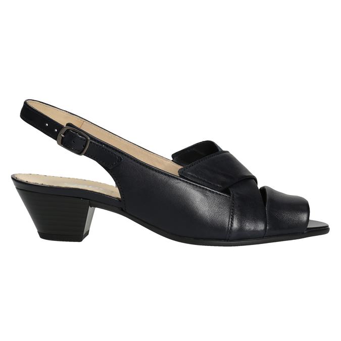 Kožené černé sandály šíře H gabor, černá, 666-6351 - 26