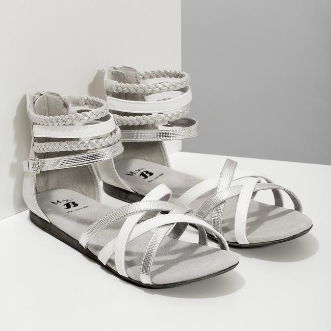 Bílo-stříbrné dívčí sandály mini-b, stříbrná, 361-1605 - 26