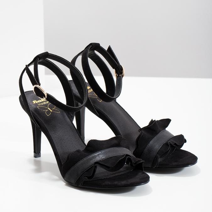 Černé sandály na jehlovém podpatku s volánem insolia, černá, 769-6619 - 26