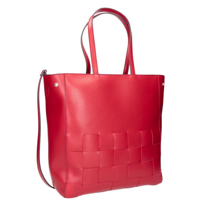 Prostorná červená kabelka s proplétáním bata, červená, 961-5236 - 13
