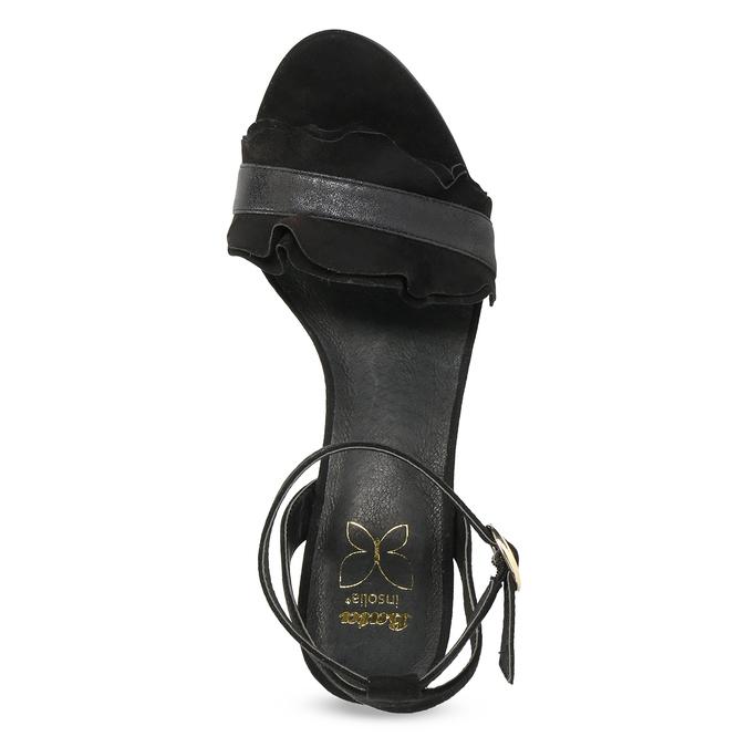 Černé sandály na jehlovém podpatku s volánem insolia, černá, 769-6619 - 17