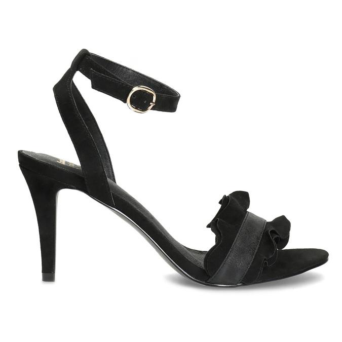 Černé sandály na jehlovém podpatku s volánem insolia, černá, 769-6619 - 19