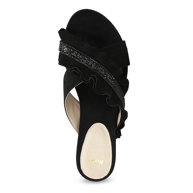 Černé dámské nazouváky s volánem a kamínky bata, černá, 569-6602 - 17