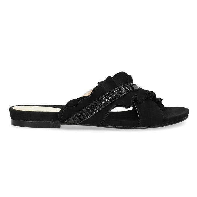 Černé dámské nazouváky s volánem a kamínky bata, černá, 569-6602 - 19
