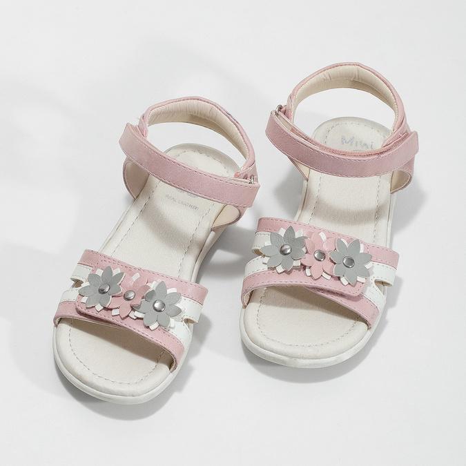 Růžovo-bílé dívčí sandály s kytičkami mini-b, růžová, 261-5615 - 16