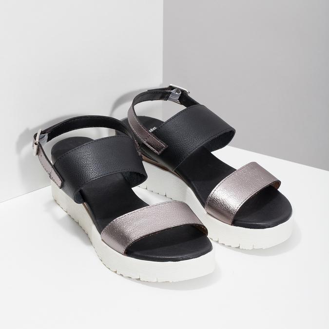 Dámské sandály na flatformě černo-stříbrné bata, černá, 661-6614 - 26