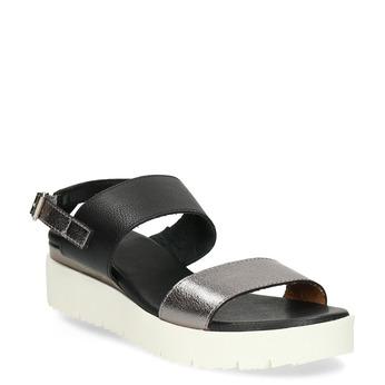 Dámské sandály na flatformě černo-stříbrné bata, černá, 661-6614 - 13