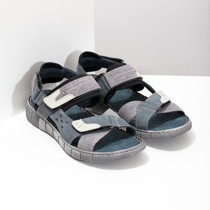 Modré kožené pánské sandály na suchý zip bata, modrá, 866-9640 - 26