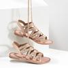 Béžové kožené sandály se šněrováním a korálky bata, béžová, 566-8639 - 16