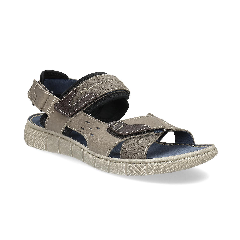5f72b063538 Baťa Kožené šedé sandály na suchý zip - Všechny boty