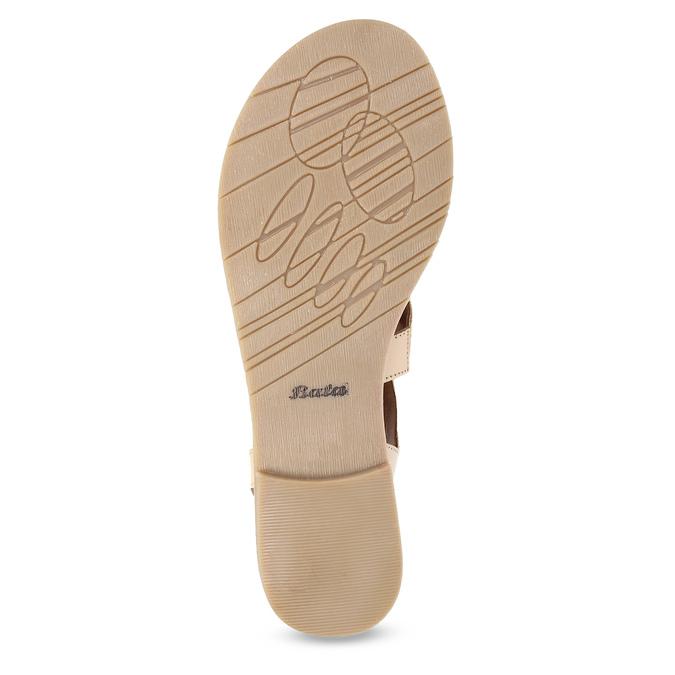 Béžové kožené sandály se šněrováním a korálky bata, béžová, 566-8639 - 18