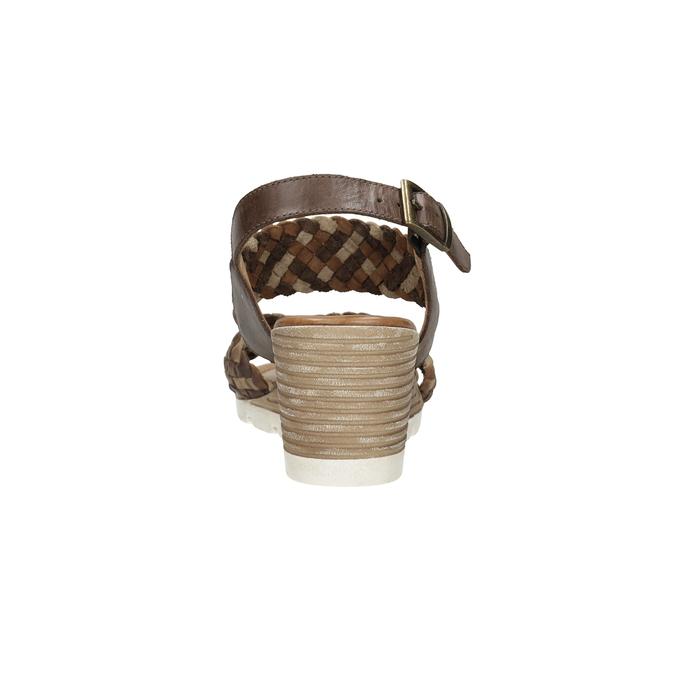 Kožené pletené sandály na klínku hnědé bata, hnědá, 666-4622 - 15