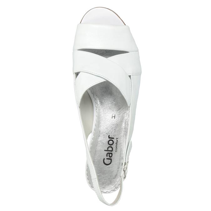 Bílé kožené sandály na stabilním podpatku šíře H gabor, bílá, 666-1351 - 15