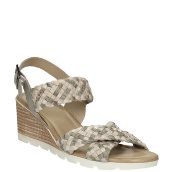 Kožené pletené sandály na klínku béžové bata, vícebarevné, 666-1622 - 13