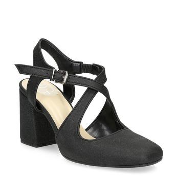 Černé dámské sandály na podpatky se třpytkami insolia, černá, 726-6653 - 13