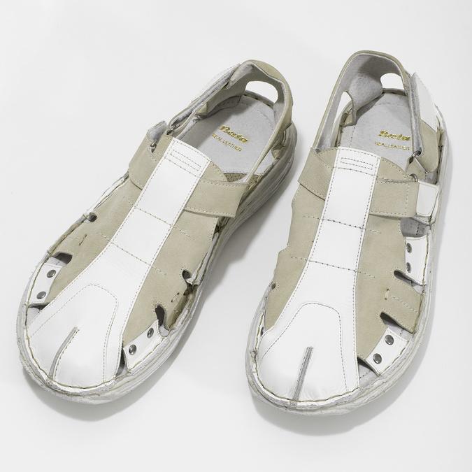 Pánské kožené sandály světlé bata, bílá, 866-1622 - 16