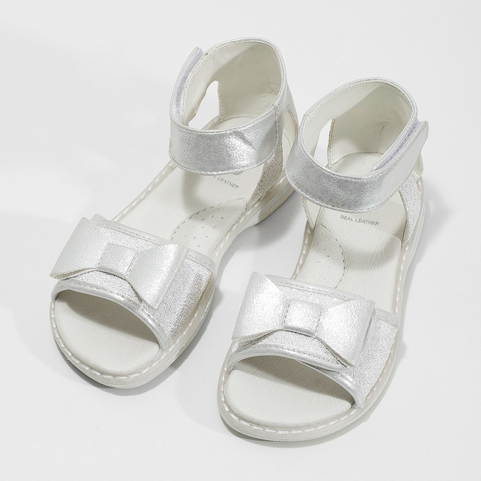 Dívčí stříbrné sandály s mašlí mini-b, stříbrná, 261-1117 - 16