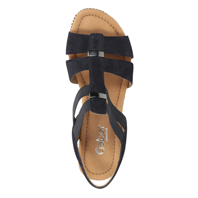 Tmavě modré kožené sandály na klínovém podpatku gabor, modrá, 763-9013 - 15