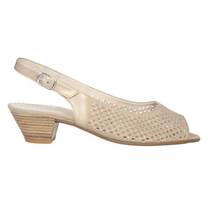 Béžové kožené sandály kamínky šíře H gabor, béžová, 663-8019 - 26