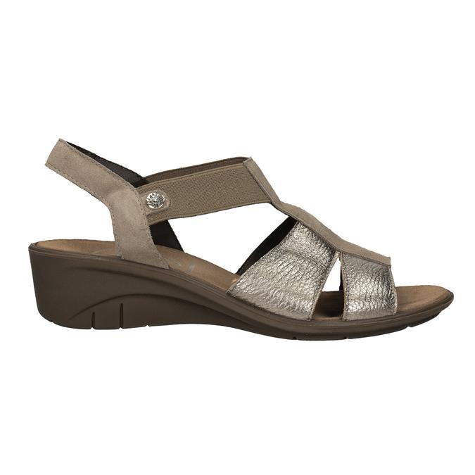 Kožené sandály na klínovém podpatku comfit, bronzová, 666-8620 - 16