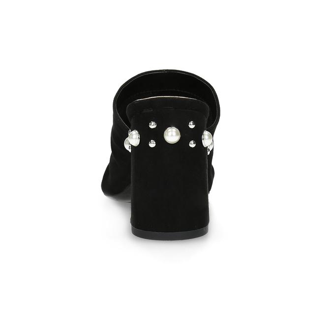 Černé nazouváky na podpatku s perličkami insolia, černá, 769-6624 - 15