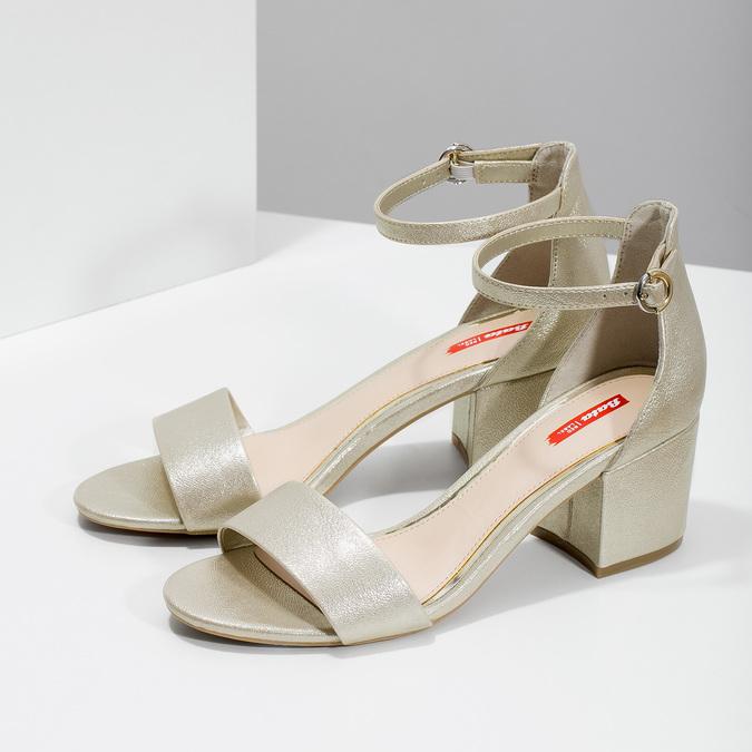 Zlaté dámské sandály na podpatku bata-red-label, zlatá, 661-8609 - 16