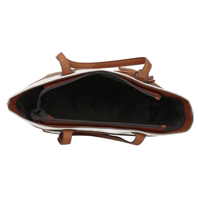 Dámská kabelka s hnědými pruhy bata, béžová, 969-8672 - 15
