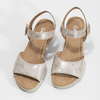 Kožené stříbrné sandály na klínku gabor, stříbrná, 766-5015 - 16