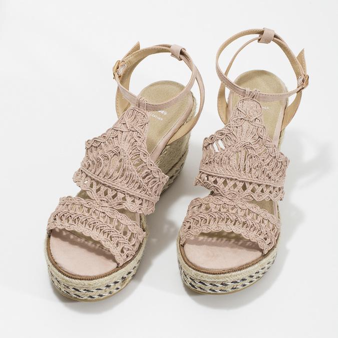 Proplétané sandály na platformě bata, růžová, 759-8633 - 16