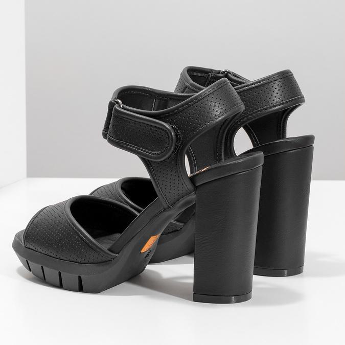 Dámské sandály na masivním podpatku flexible, černá, 761-6616 - 16