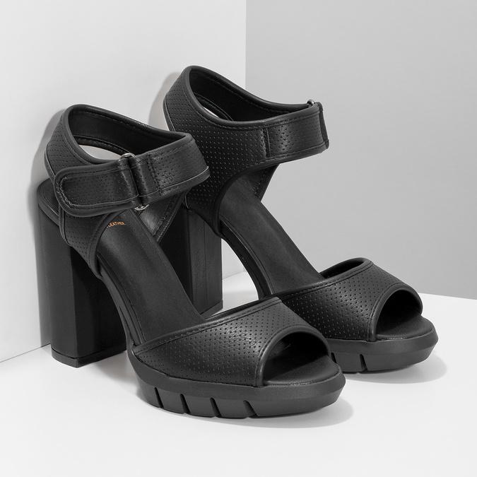 Dámské sandály na masivním podpatku flexible, černá, 761-6616 - 26