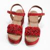 Červené sandály na flatformě bata, červená, 763-5601 - 16