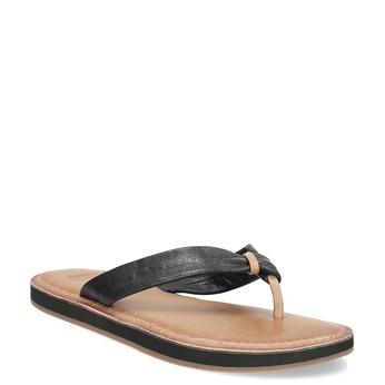 Černé kožené dámské žabky bata, černá, 566-6645 - 13