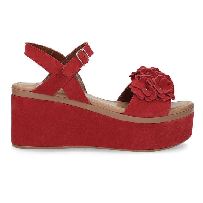 Červené sandály na flatformě bata, červená, 763-5601 - 19
