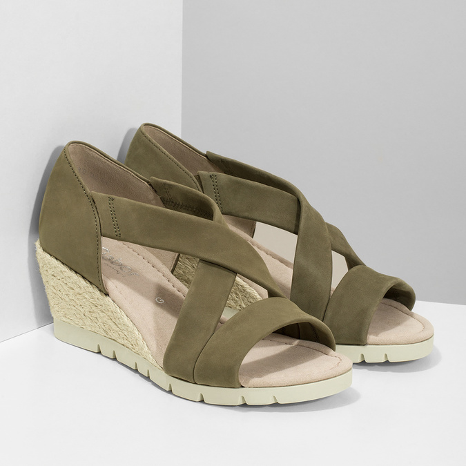Khaki kožené sandály na klínovém podpatku gabor, khaki, 766-7379 - 26