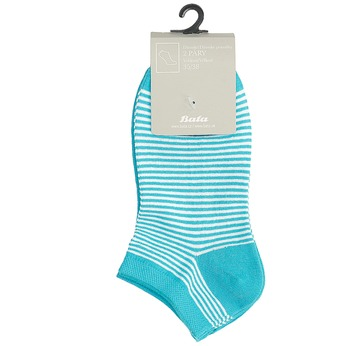 Dámské kotníkové ponožky pruhované modré bata, tyrkysová, 919-9816 - 13