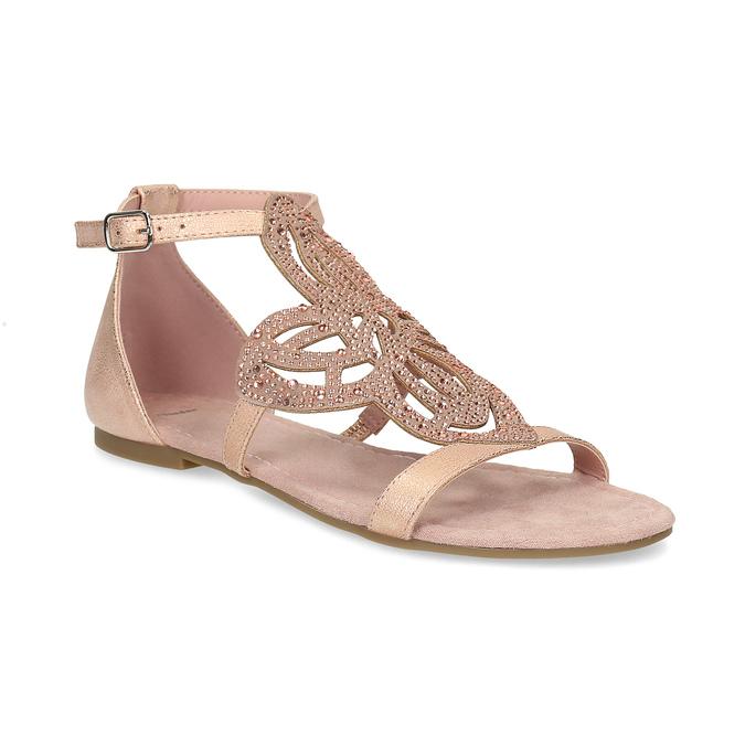 Starorůžové dámské sandály s kamínky bata, růžová, 561-5614 - 13