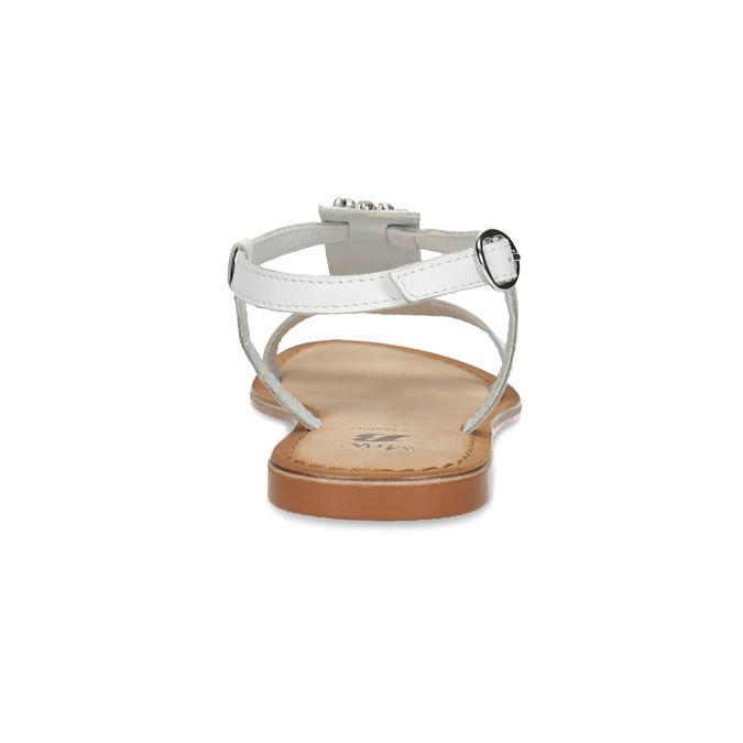 Kožené dívčí sandály s kamínky na nártu mini-b, bílá, 364-1128 - 15