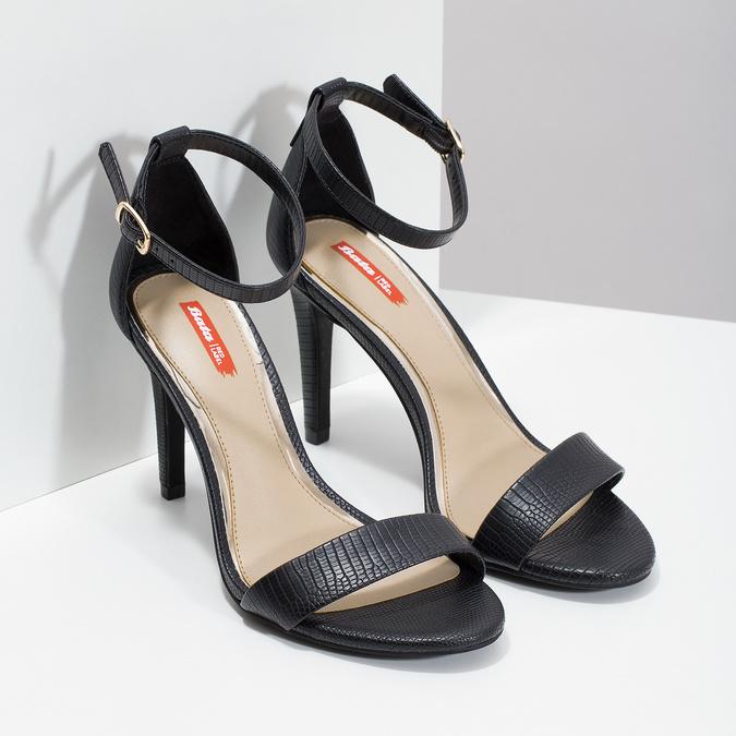 Černé sandály na jehlovém podpatku bata-red-label, černá, 661-6610 - 26