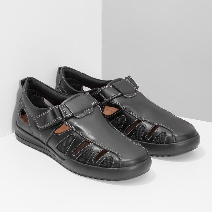 Pánské kožené sandály s prošitím comfit, černá, 856-6605 - 26