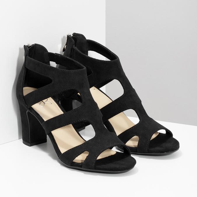 Černé sandály na stabilním podpatku insolia, černá, 769-6617 - 26