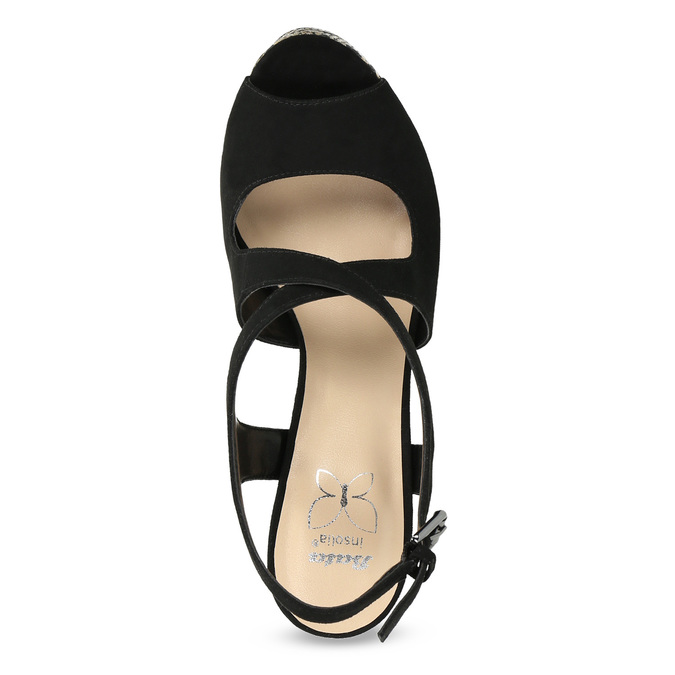 Dámské sandály na klínku se vzorem černé insolia, černá, 769-6622 - 17