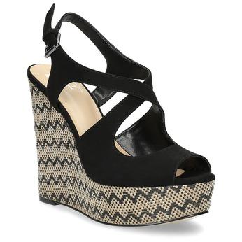 Dámské sandály na klínku se vzorem černé insolia, černá, 769-6622 - 13