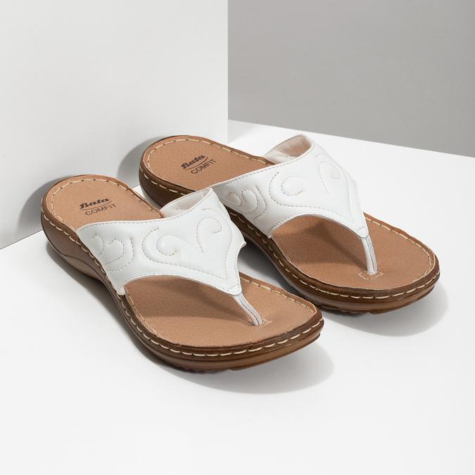 Bílé kožené dámské žabky comfit, bílá, 566-1632 - 26