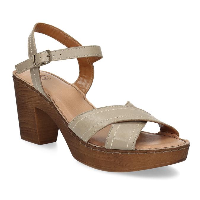 Kožené sandály na dřevěném podpatku béžové comfit, béžová, 666-8624 - 13