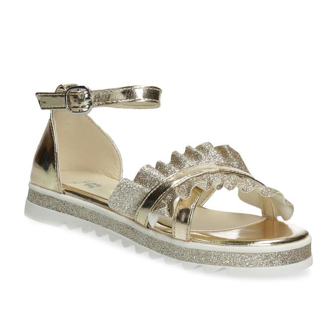 Zlaté dívčí sandály s volánem mini-b, zlatá, 361-8253 - 13